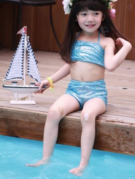 뜨거운 판매 소녀 키즈 인어 수영복 / 세트 인어 수영 바이키니 세트 소녀 비치 수영복 머메이드 수영 의상 DHL 선박