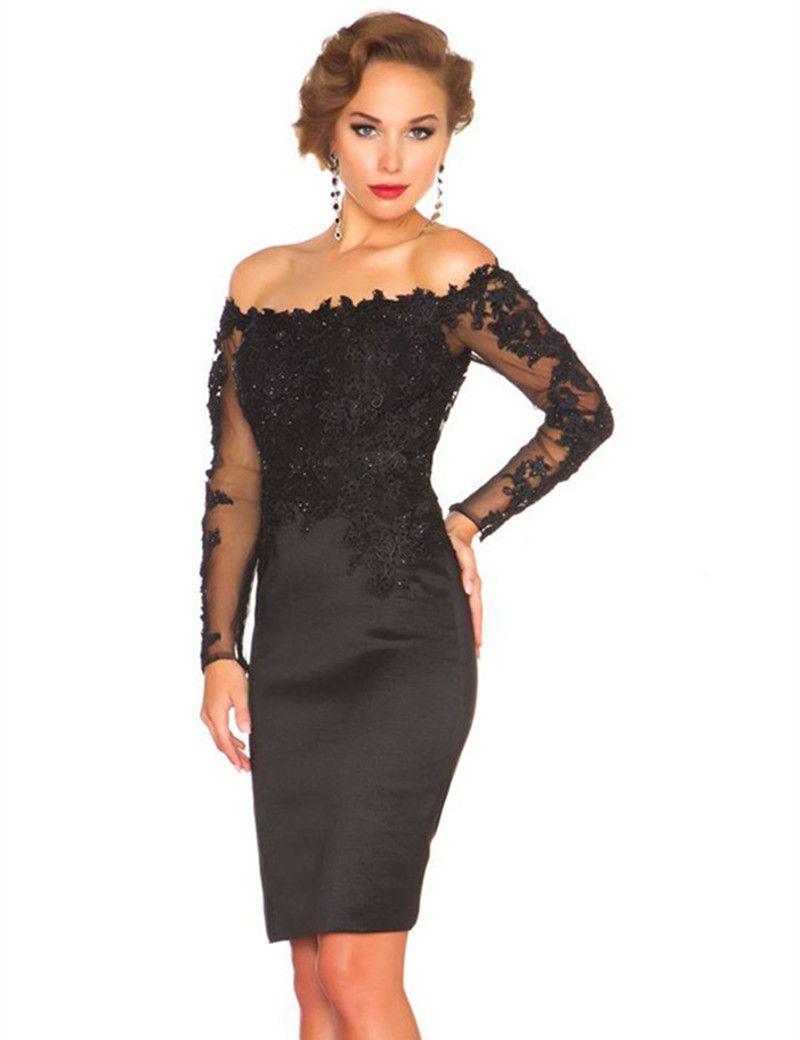 Stunning Breve Black Cocktail Dresses manica lunga fuori spalla in pizzo in pizzo in raso sopra al ginocchio lunghezza abiti da festa su misura
