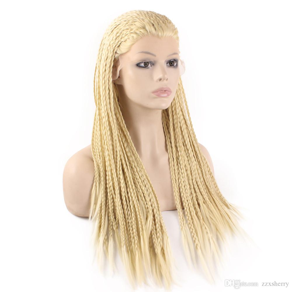 613 Blond Kanekalon Braiding Hair Wig Full Long Micro Braided Synthetic Lace Front wigs For White Fashion Women