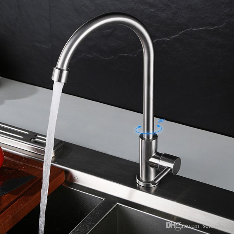 2018 Single Cold Kitchen Faucets 304 Stainless Steel Water Taps ...