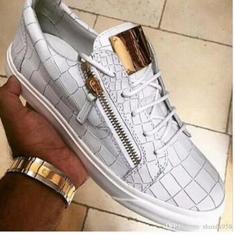 57802ba51d Moda de Luxo Da Marca Branco   Preto Padrão de Pedra Sapatos Casuais Zipper  Lace Up Sapatos Baixos Das Mulheres Dos Homens Top Sneakers Sapatas Do  Esporte
