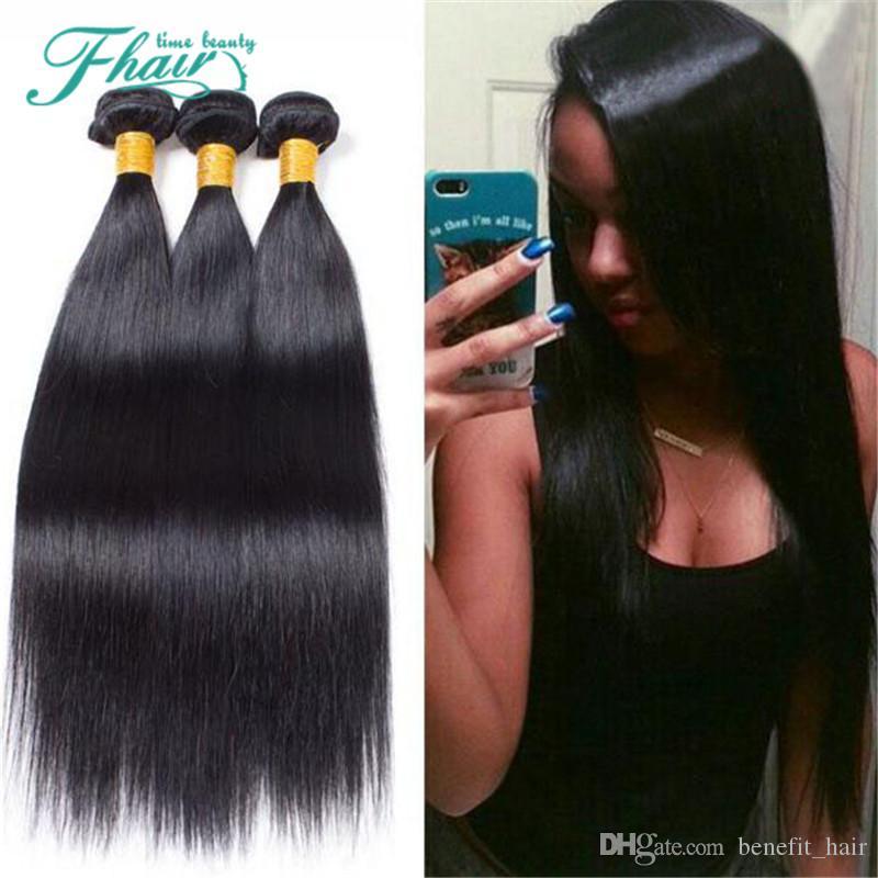 Индийские волосы прямые 3 пучка 100% необработанных человеческих волос ткет 10