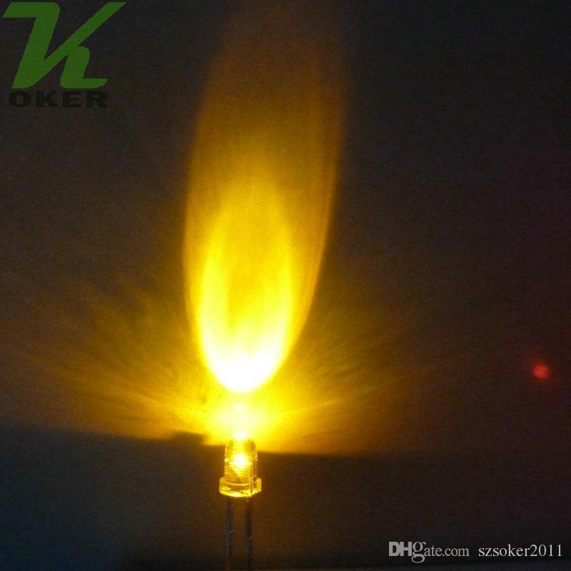 1000 pz 3mm 3mm giallo rotondo acqua trasparente lampada a led lampada a emissione diodo ultra brillante plug-in plug-in kit fai da te Pratica grandangolare