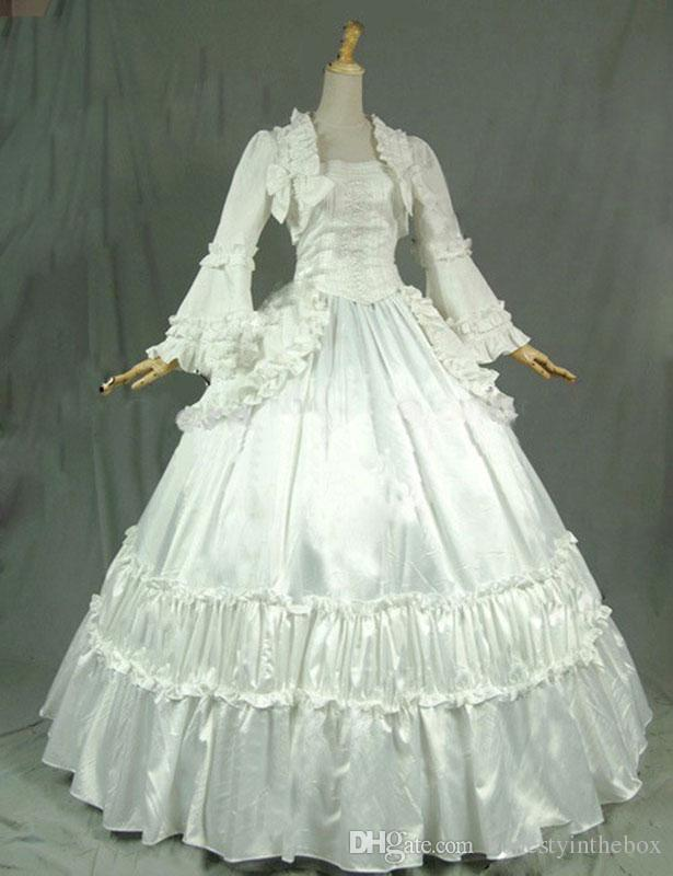 Best 18th Century White Long Sleeve Victorian Gothic Steampunk Ball ...