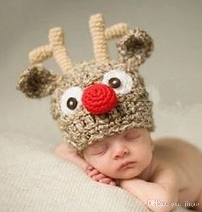29db767f7 Newborns Beanie Handmade Crochet Deer Horn Hat Cute Baby Deer Antler  Knitting Wool hat for Photo Props Christmas Gifts