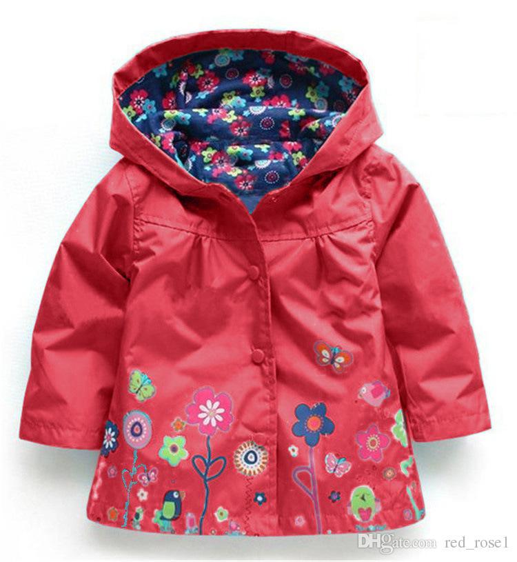 Baby barn flickor blomma regnrock 7 färgfria barn mode baby tjejer kläder vinterrock blomma regnrockjacka för vindtät outwear