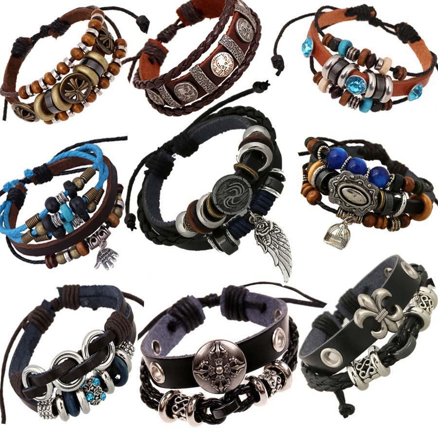 db7e18565ba69 Wholesale-Vintage rope leather mens bracelets leather rope hand woven  bracelet for men rope braided bracelet male female bracelet Jewelry