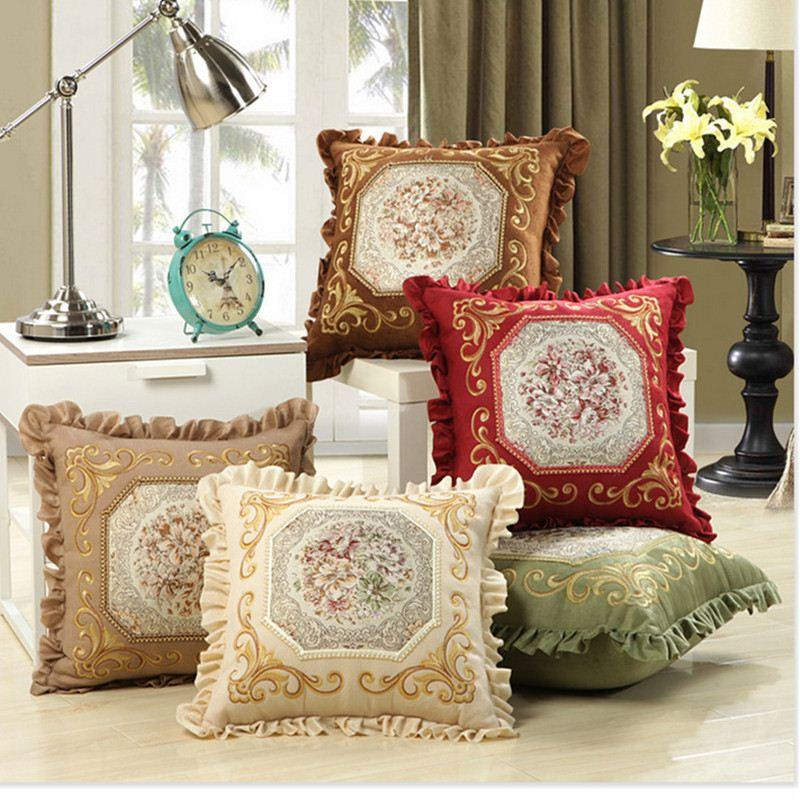 Luxurious Embroidery Velour Home Decor Cushion Decoration Lace