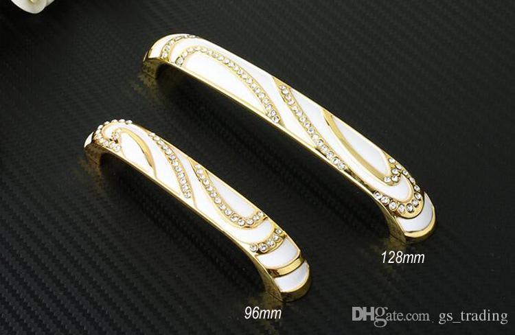 Gold Crystal Rhineston Diamond Furniture Hardware Knobs Drawer Wardrobe Kitchen Cabinets Cupboard Dresser Handle Pulls Door Accessories