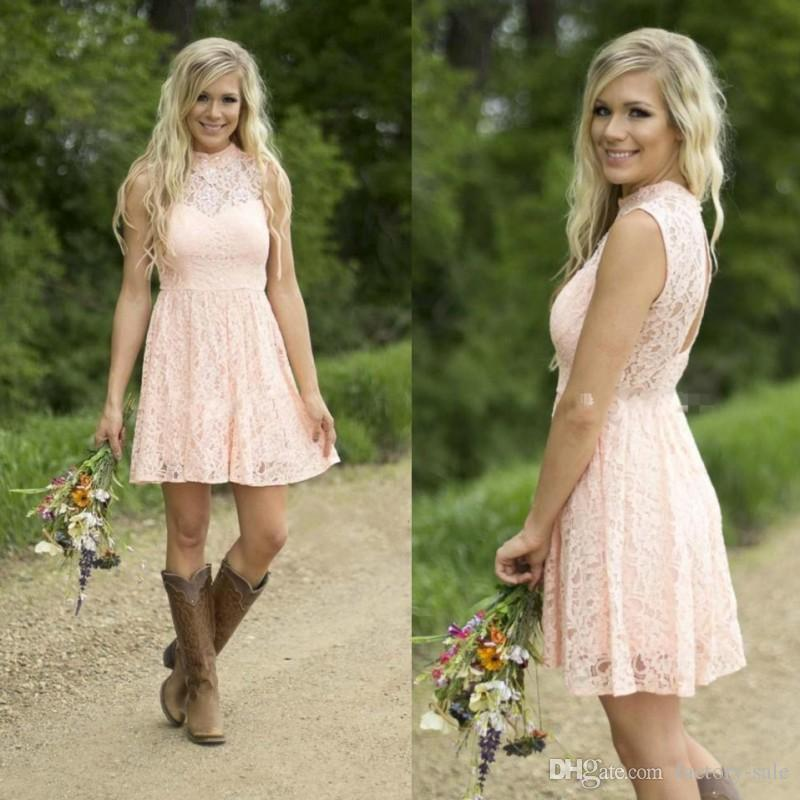 2019 Pink Country Style Short Junior Bridesmaid Dresses