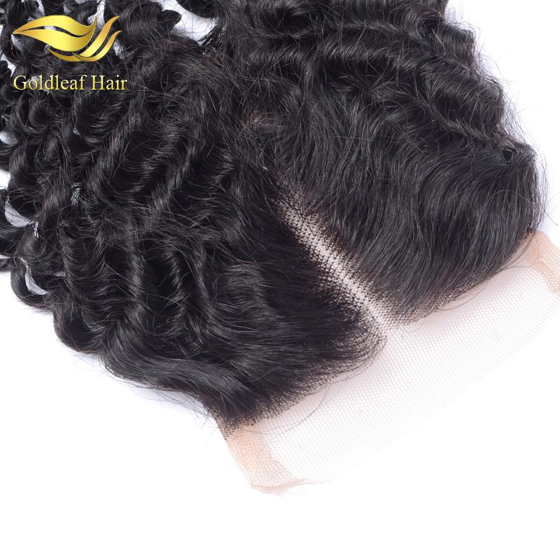 Kinky Curly Closure 100% Virgin Human Hair 4X4 Kinky Curly Lace Closure Bleached Knots Free Middle 3 Part Malaysian Closure