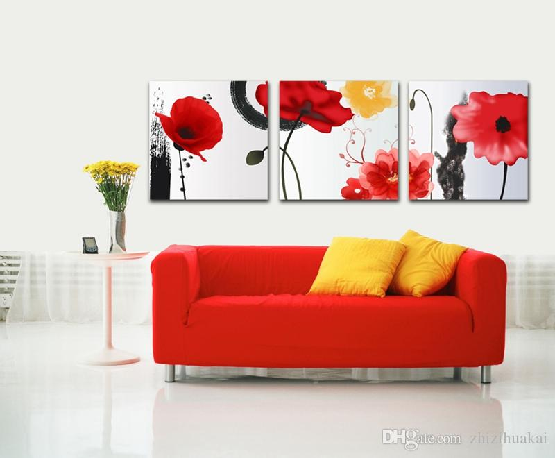 no frame Hot selling wall art picture on Canvas Prints rose peony tulips Chrysanthemum Daisy Abstract cartoon flower