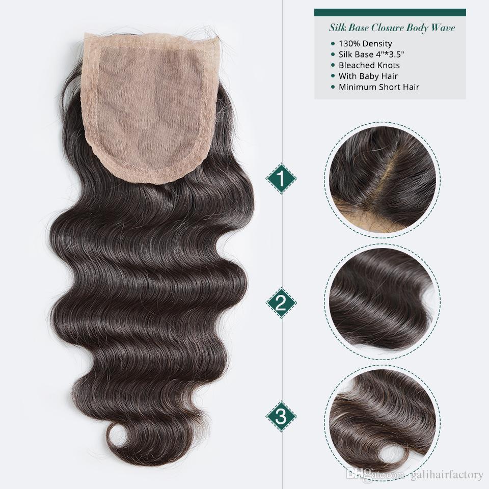 Silk Base Closure Body Wave Deep Curly Loose Wave Straight Unprocessed Brazilian Indian Malaysian Peruvian Human Hair DHL