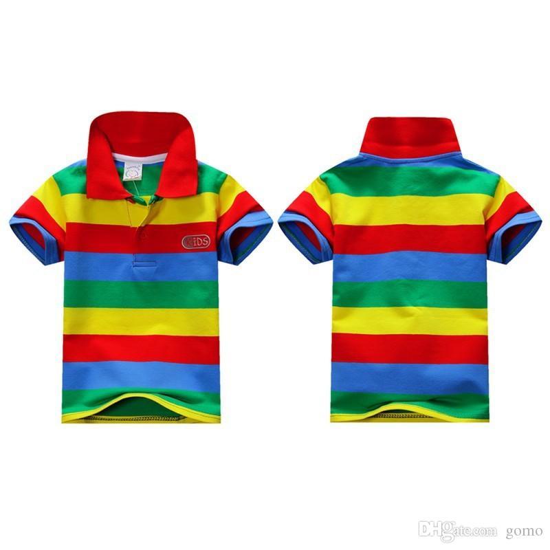 2019 Yaz 1-7Y Çocuk Erkek Bebek Standı Yaka Çizgili Tişört Rahat Çocuklar Üstleri Tee Polo Gömlek
