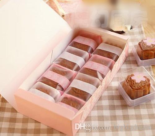 Розовые лозы цветок Mooncake box яичный желток кондитерские коробки Луна торт Box Оптовая, печенье box 3 размеры 10 шт. / лот бесплатная доставка