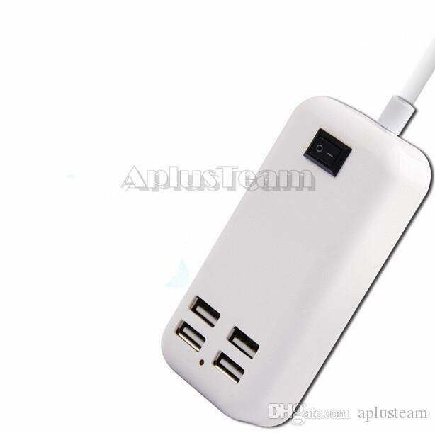 15W 4 ports USB Wall Charger AU US UK plug HUB with Switch 1.5m Cable AC power adapter For iphone 7 Samsung S7 iPad HTC Smart Phone