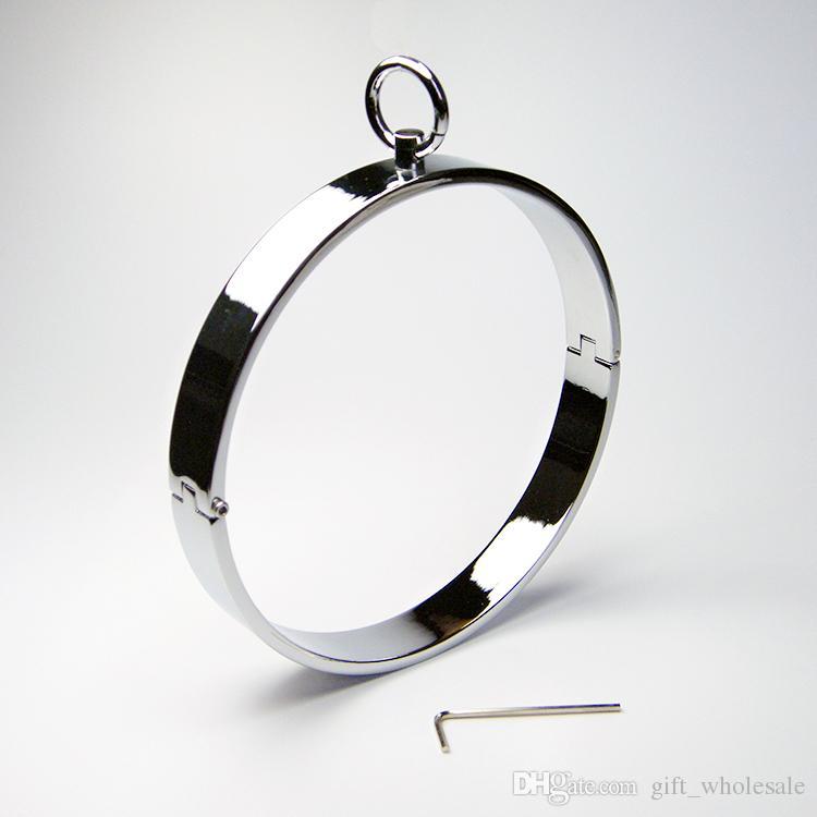 Newest Unisex Stainless Steel Neck Ring Collar Restraint Chastity Pins Locking Sex Games BDSM Toy