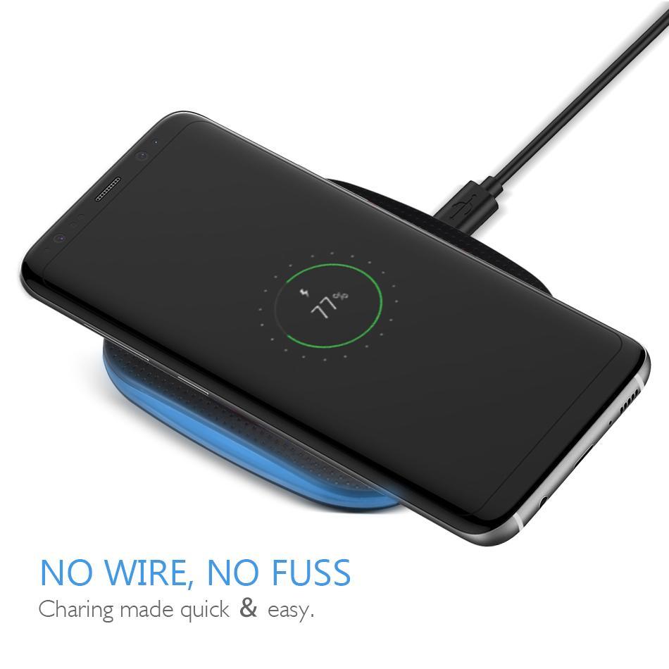 Беспроводное зарядное устройство Qi для iPhone XS Max Mini Беспроводная зарядная панель Противоскользящие резиновые устройства с поддержкой Qi для Galaxy S8 S9 Plus с розничной коробкой