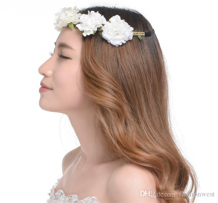 Garland UK Boho Womens Girls Hair Headband Floral Flower Party Festival Wedding Flower Girls Bride Sweet Fresh Hair Ornaments Headdress