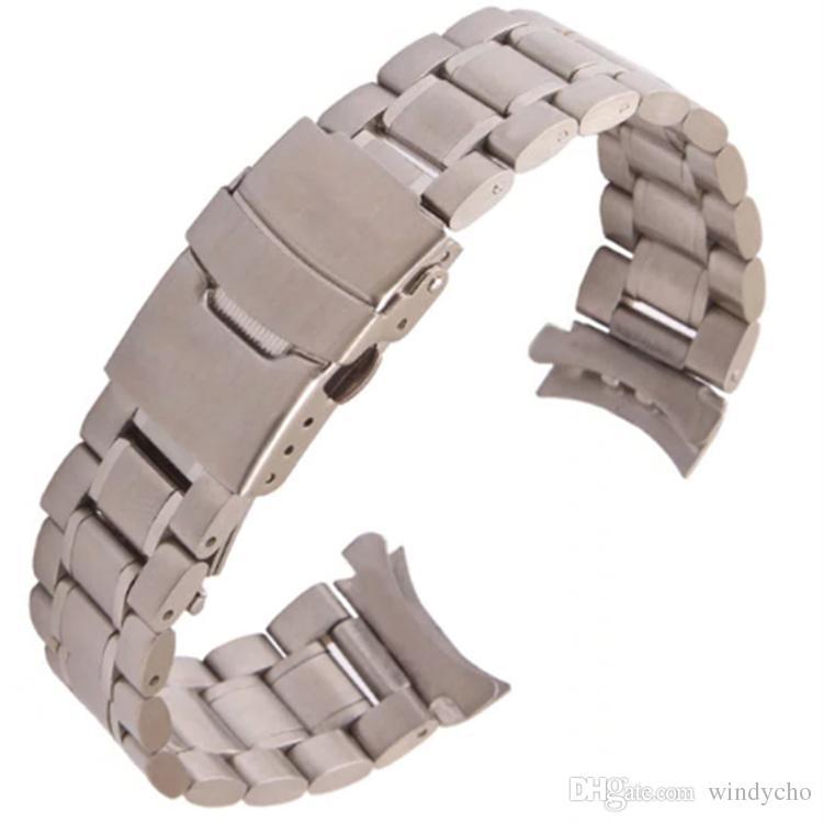 18 mm 20 mm 22 mm 24 mm Acero inoxidable Enlaces sólidos Reloj Banda Correa Pulsera Extremo curvo hebilla de seguridad enlaces sólidos negro plata nuevo Envío gratuito