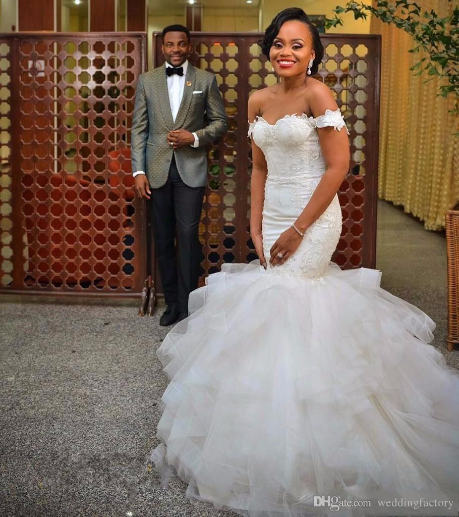 2017 Stunning Vestido De Novia African Wedding Dress Embroidery Appliques Sweetheart Off the Shoulder Ruffles Bridal Gowns Open Back Corset