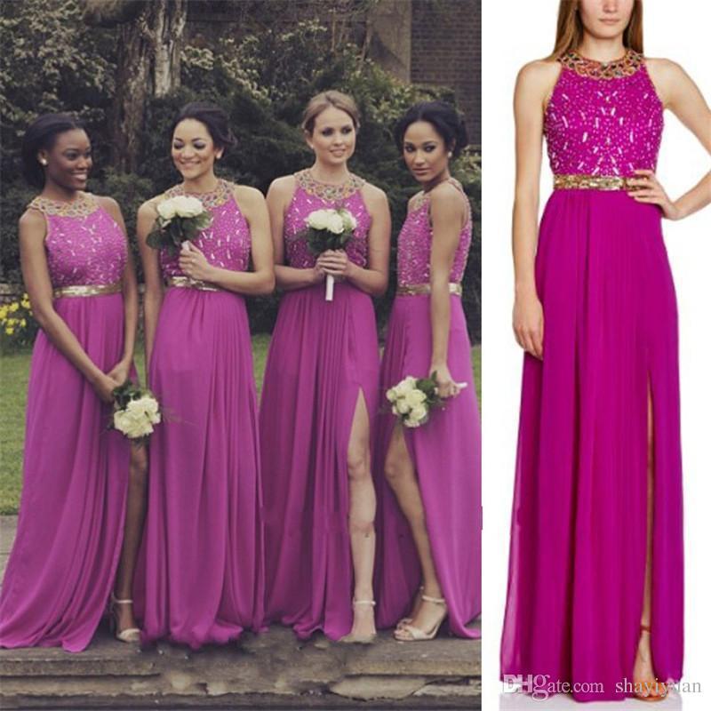 Greek 2016 Plus Size Bridesmaid Dresses Fuschia Chiffon Bridesmaids ...