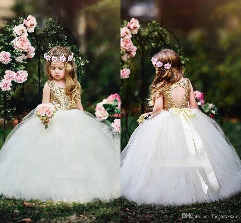 Gold Sequins Flower Girl Dresses Lace Pircess Ball Gown Floor Length Tiered Tulle Kids Girls Dress First Communion Dress Wedding Party