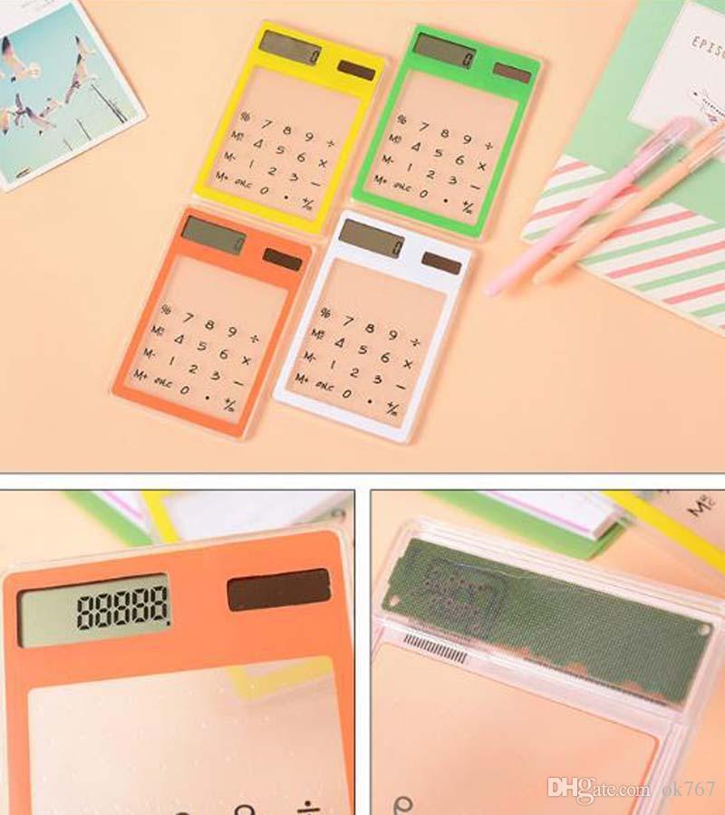 Chiffre Écran Tactile Ultra Mince Transparent Calculatrice Solaire Papeterie Effacer Calculatrice Scientifique Étudiant École Bureau Livraison gratuite