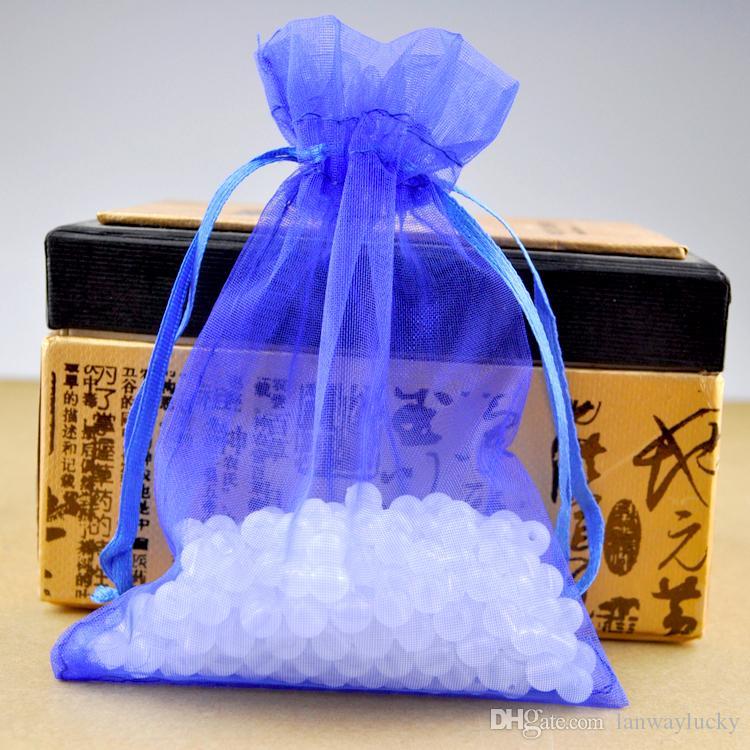 Bleu Royal Organza Cordons Pochettes Bijoux Partie Petit Faveur De Mariage Sacs D'emballage Emballage Cadeau Bonbons Wrap Carré 5 cm X 7 cm 2