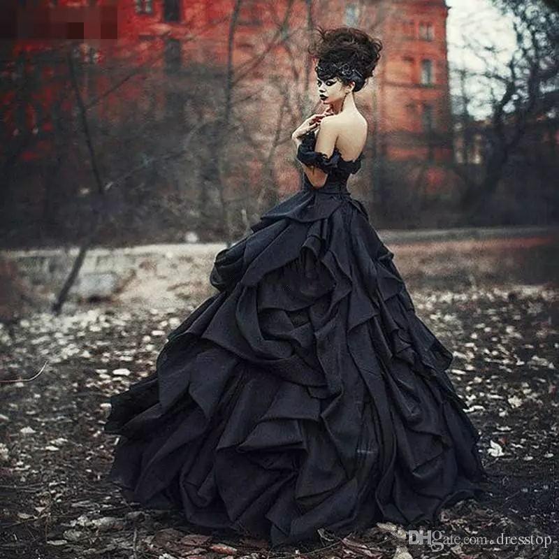 Fora Do Ombro Preto Vestidos de Casamento Gótico Pick Up Satin Tiered Plissado Lace Vitoriano Vestidos De Noiva Plus Size Espartilho de Volta Custom Made