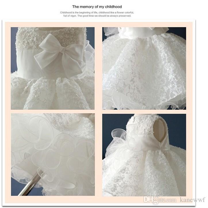 Noble weiße Bogen Taufe Taufkleid, Neugeborene Baby Mädchen / Infant Prinzessin Tutu Geburtstagskleider, Batizado, Bapteme