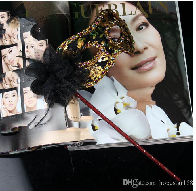 Máscaras de festa com vara de casamento veneziano meia face máscara de flor máscara de máscaras do dia das bruxas princesa dança do partido máscaras 7 cor