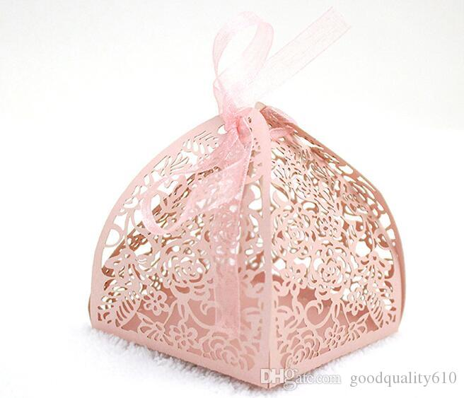 Design-2 Laser Cut Hollow Rose Flower Candy Box Chocolates Boxes With Ribbon For Wedding Party Baby Shower Birthday Favor Gift