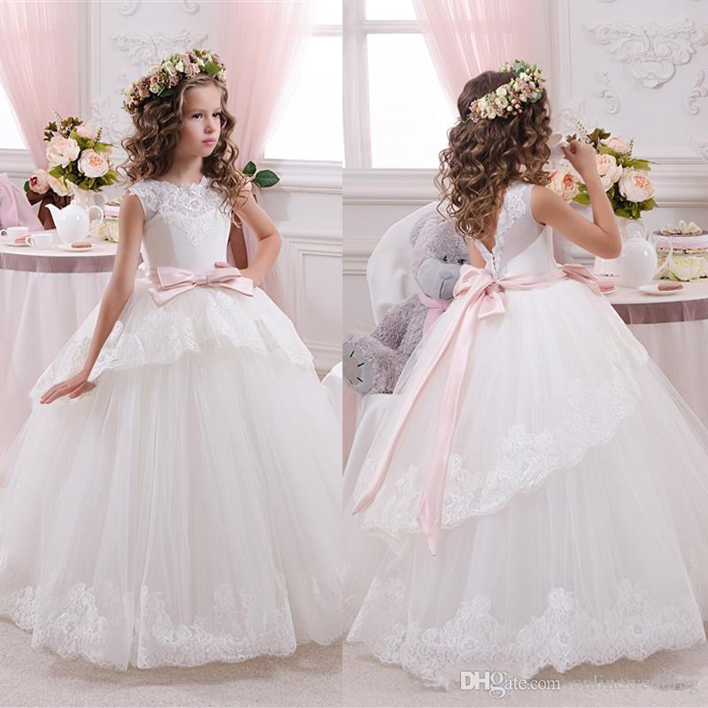 2017 Cheap Lace Ball Gown Little Bride Flower Girls Dresses For