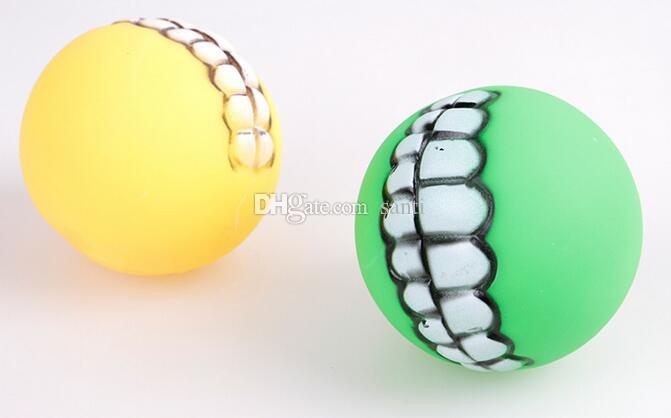 Home Garden Dog Toys Chews Hot Pet Puppy Dog Funny Ball Teeth Silicon Toy Chew Sound Dogs Play Toys