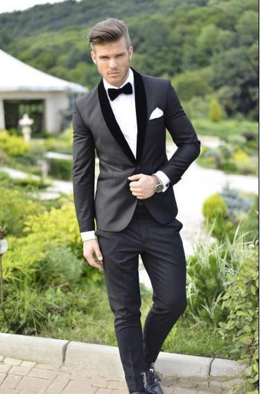 Custom Made Groom Tuxedos Charcoal Grey Best man Shawl Black Collar Groomsman Men Wedding Suits Bridegroom Jacket+Pants handsome