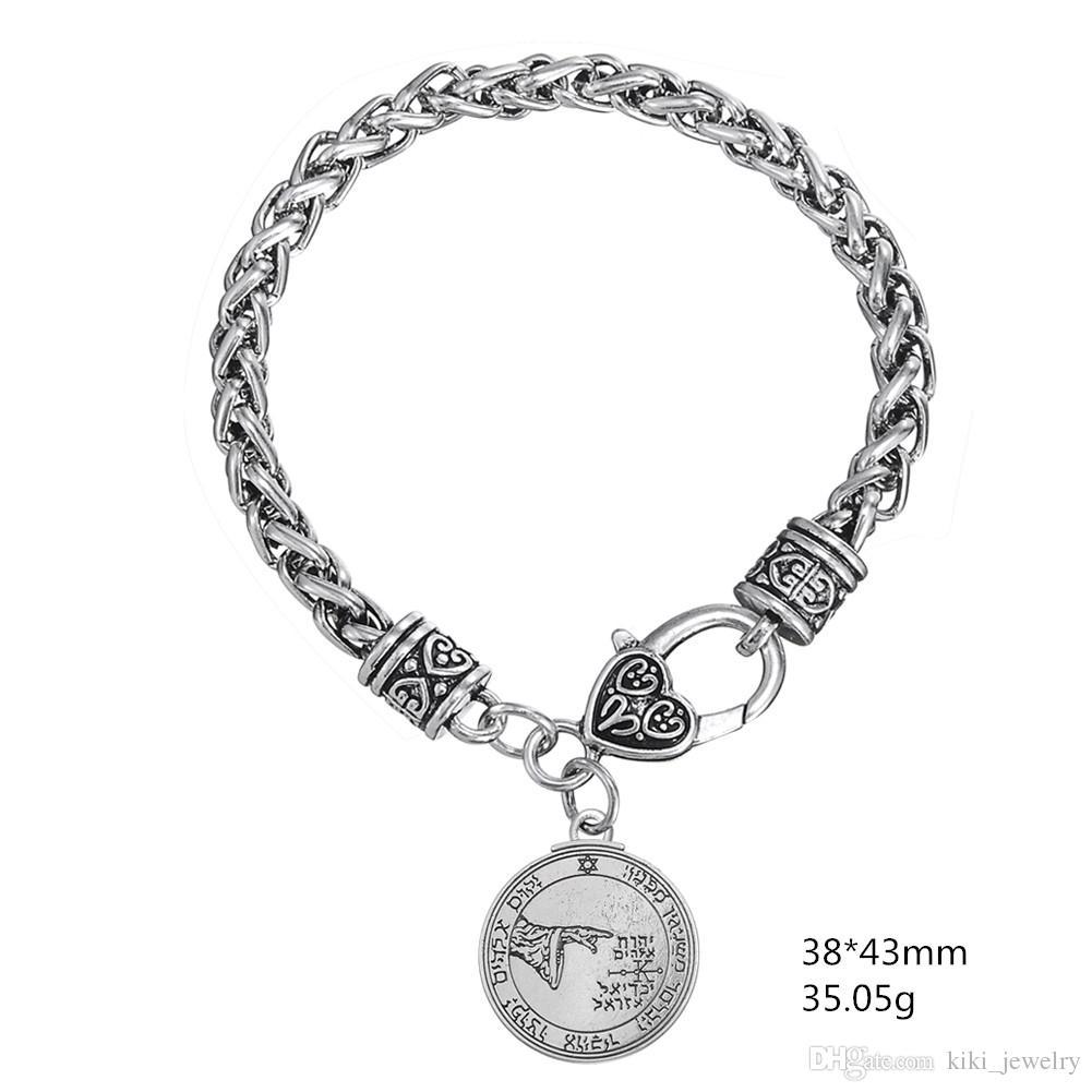 Acheter Ma Forme Bijoux Religieux Antique Silver Pentacle De La Lune  Talisman Pendentif Blé Chaîne Bracelets 5fd36a8966c9