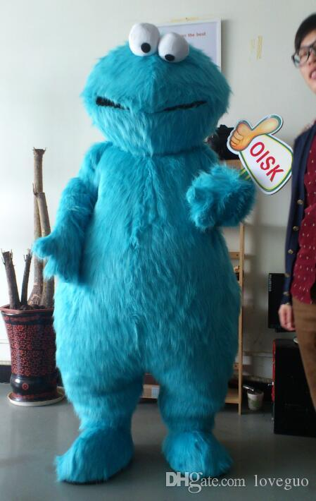 Oisk Real Picture High Quality Long Fur Plush Sesame Street Blue Cookie Monster Mascot Costume Adult Cartoon Character Outfit Fancy Dress Kids Mascot ... & Oisk Real Picture High Quality Long Fur Plush Sesame Street Blue ...