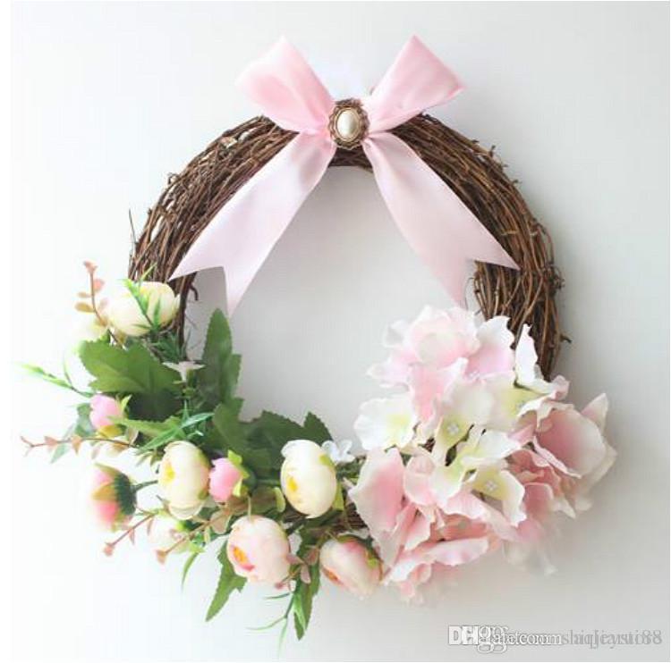 Decorative Hydrangea Wreath For Front Door Handcrafted All Season