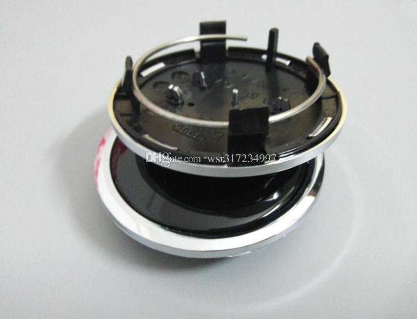 Styling Car Styling / 69mm Grigio / Nero Centro della ruota Cappuccio / Cappuccio del mozzo della ruota copertina del tappo del tappo dell'automobile A4 A6 RS6 Logo Badge in lega di Logo, 4b0601170A
