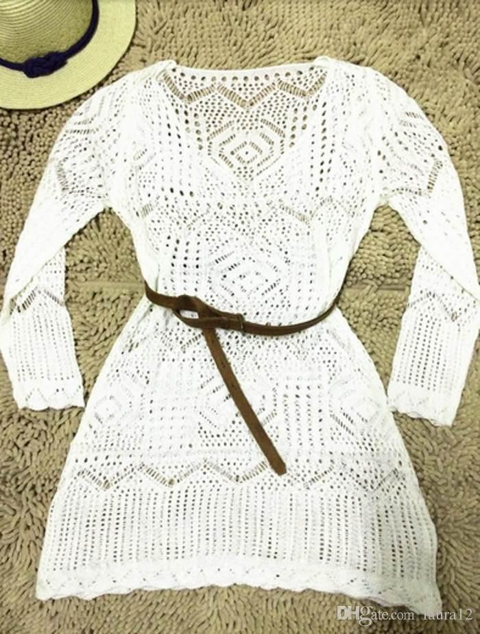 2016 Hot New Sale White Lace Women Beach Dress Sexy See Through Long Sleeve V Neck Bikini Dress In Stock Summer Short Dress
