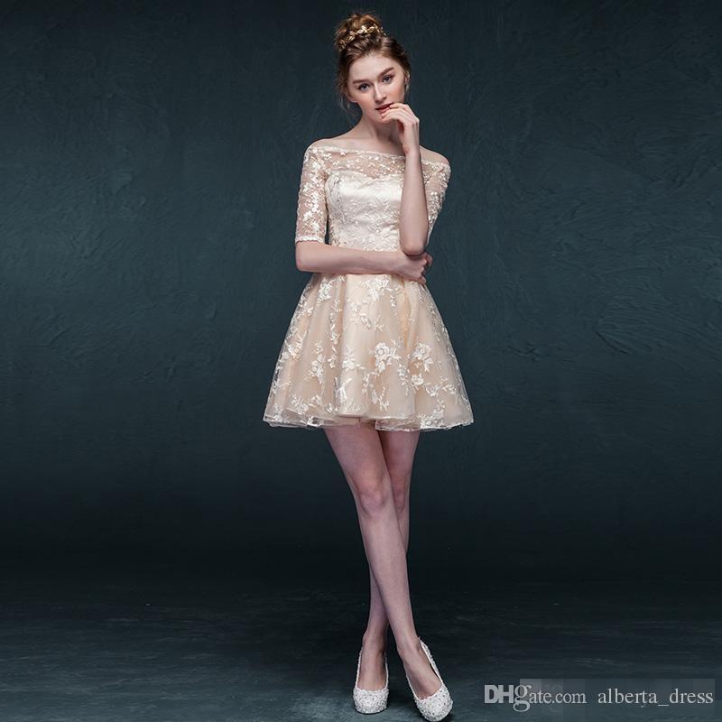 Champagne manga semi vestido formal para adolescentes superposición de encaje hombro corto vestido de regreso por encargo