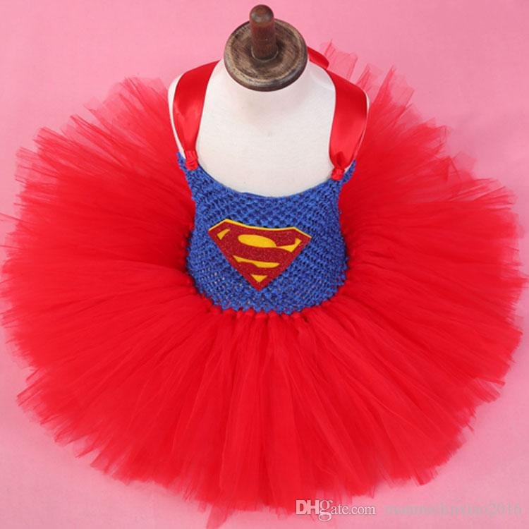 New Popular Movie Justice League Wonder Woman Superman Children Dress Party Dress Cosplay Costume Halloween Chrismas