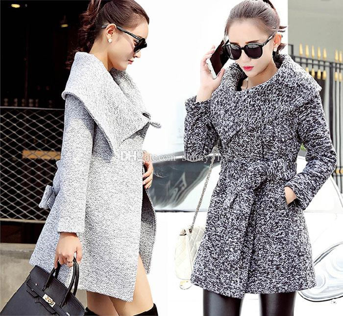 5da651fc662 Fashion Korean Women Turndown Collar Slim Wool Coat Lady Elegant ...