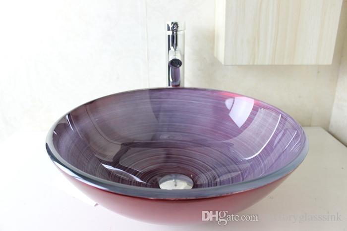 Lavamanos cristal lavamanos cristal lavabo sobre encimera redondo de cristal moderno - Lavabos de vidrio ...