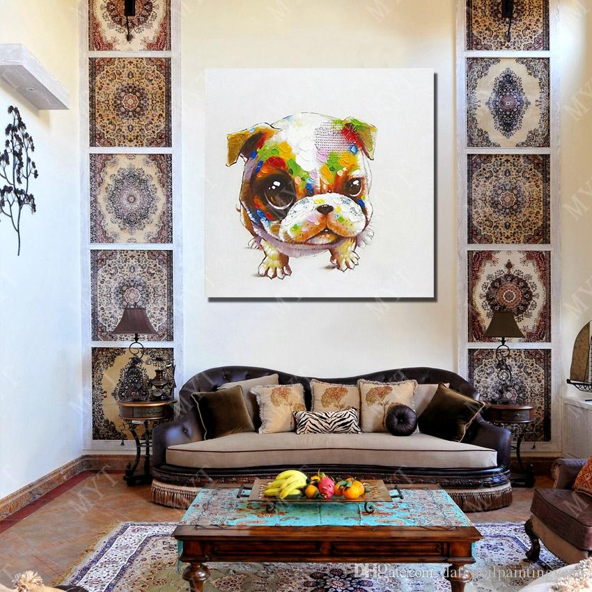 Cheap Art Paintings Lovely Pet Dog Wall Pictures Abstract Modern Canvas Wall Art Living Room Decor Picture Hand painted Oil Painting