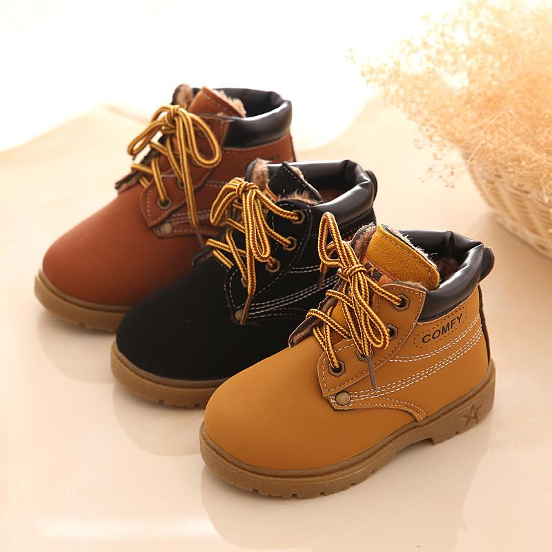 Comfy Kids Winter Fashion Child Leather Snow Boots For Girls Boys Warm Martin Boots Shoes Casual Plush Child Baby Toddler Shoes