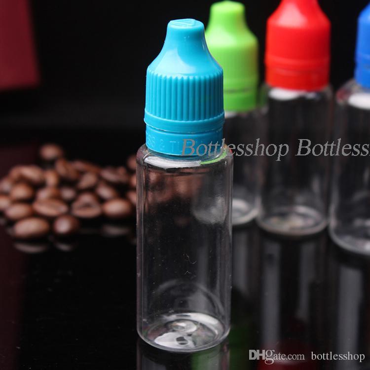 Atacado childproof tamper cap PET 20 ml garrafas de líquido de plástico Transparente Claro garrafas Vazias com ponta longa e fina