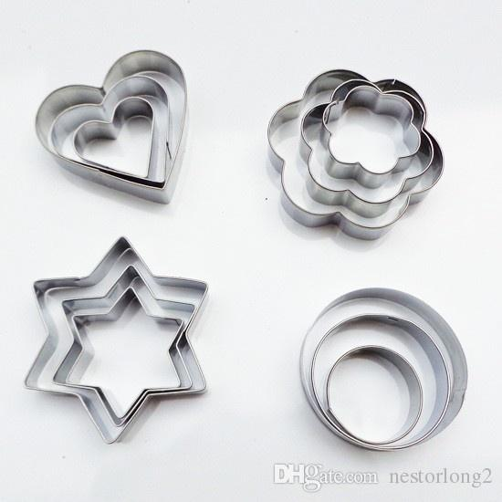 Stainless Steel Star/Heart/Flower/Round Cookie Fondant Cake Mould Biscuit Mold Fruit Vegetable Cutter Kitchen Tool