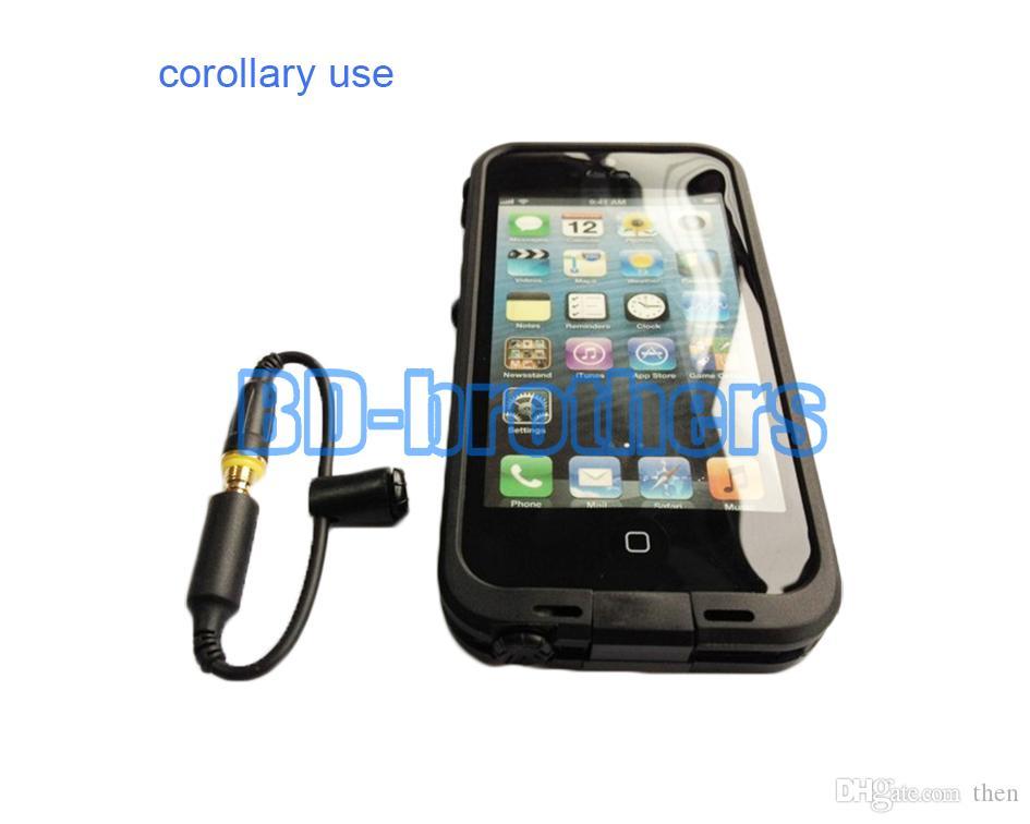 Cas de couverture étanche casque adaptateur câble de remplacement 3.5mm femelle à câbles pour hommes avec capuchon d'étanchéité pour iPhone4 / 5/6 écouteurs / lol